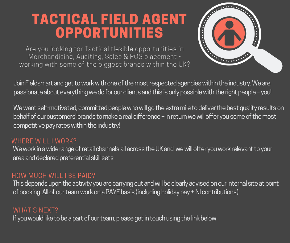 Tactical field agent recruitment merchandiser vacancies